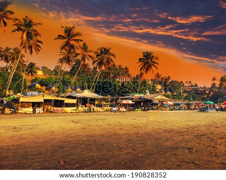 India. Goa. Beach on a sunset - stock photo