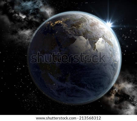 India in sunrise, a concept 3D rendering of Earth at dawn with India highlighted by the morning sun, and the European continent illuminated at night. Elements of this image furnished by NASA. - stock photo