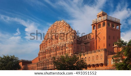 India, Jaipur - Palace of Winds. The palace constructed of red and pink sandstone