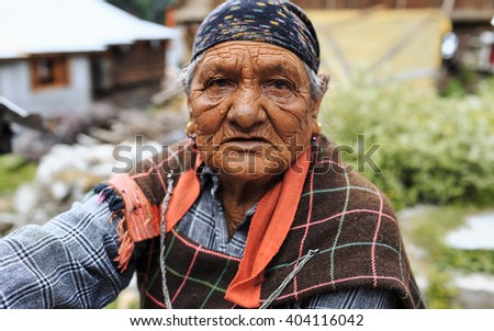 INDIA,MANALI - 13 June 2015: local person's portrait, the village of Manali. Himachal Pradesh - Himalayas