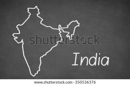 India map drawn on chalkboard. Chalk and blackboard. - stock photo