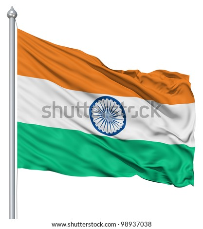 India national flag waving in the wind