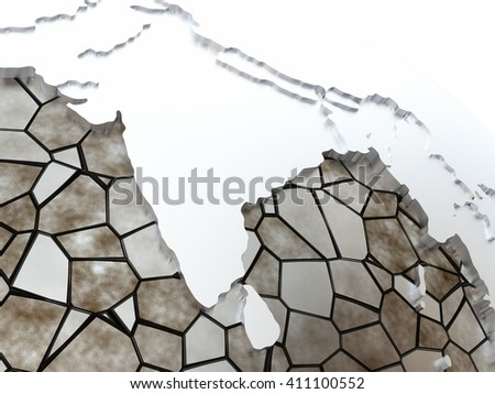India on metallic model of planet Earth. Shiny steel continents with embossed countries and oceans made of steel plates. 3D rendering. - stock photo