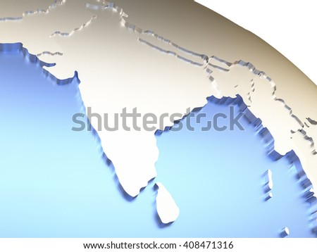 India on metallic model of planet Earth with embossed continents and visible country borders. 3D rendering. - stock photo