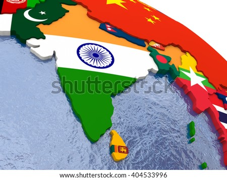 India - political map of India and surrounding region with each country represented by its national flag. - stock photo
