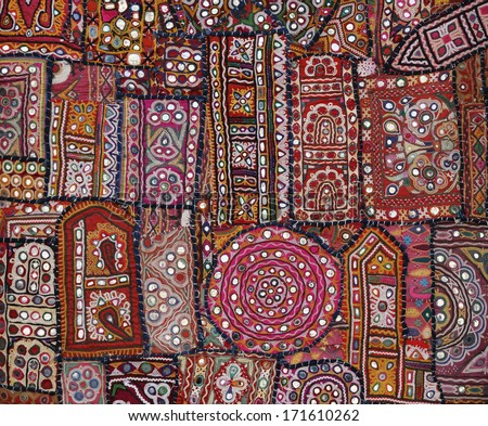India, Rajasthan, Jaipur, indian handmade patchwork carpet for sale - stock photo