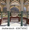 India, Rajasthan, Jaipur, Sisodia Rani Ka Bagh Palace, built in 1710 A.D. by Maharaja Sawai Jai Singh, view of the garden - stock photo
