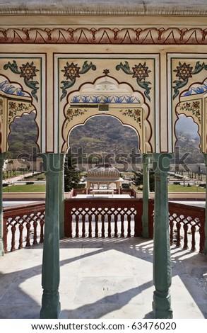 India, Rajasthan, Jaipur, Sisodia Rani Ka Bagh Palace, built in 1710 A.D. by Maharaja Sawai Jai Singh, view of the garden - stock photo