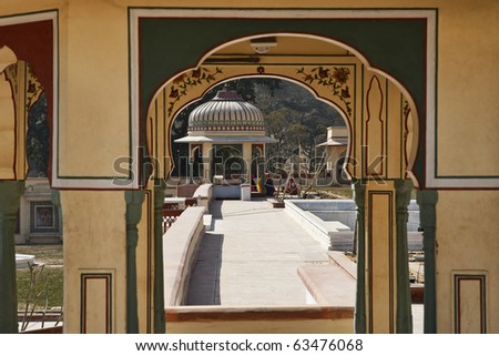 India, Rajasthan, Jaipur, Sisodia Rani Ka Bagh Palace, built in 1710 A.D. by Maharaja Sawai Jai Singh, indian women in the garden