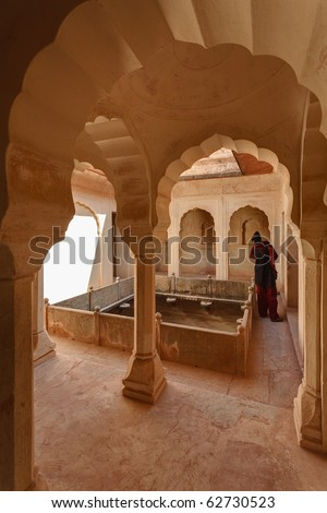 India, Rajasthan, Jaipur, the Amber Fort, view of the Amber Fort Palace - stock photo