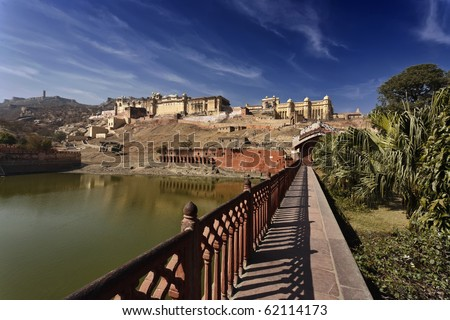 India, Rajasthan, Jaipur, view of the Amber Fort, all-built in white marble and red sandstone, 11 km outside Jaipur city - stock photo