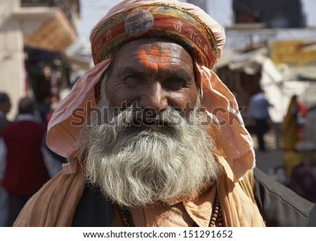 India, Rajasthan, Pushkar, indian Sadhu - stock photo