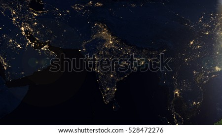 India Satellite Space View - Planet Earth Map Composition (Elements of this image furnished by NASA)