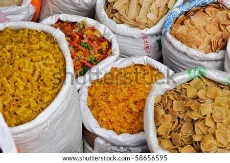 India Street Vendor Food for Sale including Pasta - stock photo