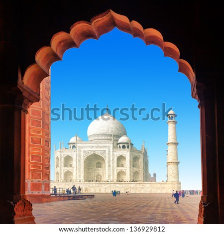 India Taj Mahal. Indian palace Tajmahal - stock photo