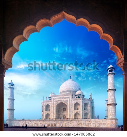 India Taj Mahal palace, Indian Islamic mosque Tajmahal - stock photo
