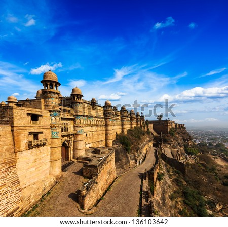 India tourist attraction - Mughal architecture - Gwalior fort. Gwalior, Madhya Pradesh, India - stock photo