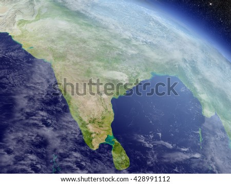 India with surrounding region as seen from Earth's orbit in space. 3D illustration with highly detailed realistic planet surface and clouds in the atmosphere. Elements of this image furnished by NASA.