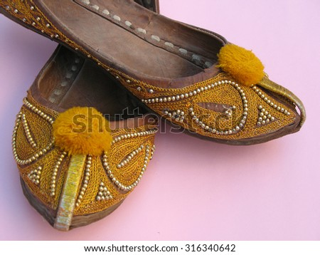 Indian and pakistan style shoes called khussa and nagra shoes - stock photo