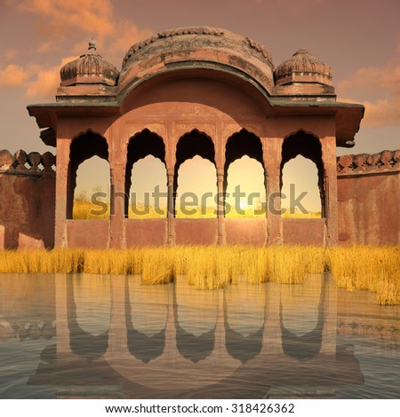 indian architecture near Ganges river in the sunset.