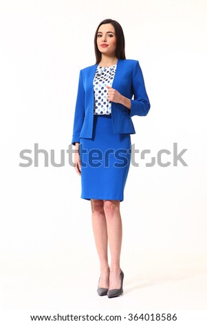 indian asian eastern brunette business executive woman with straight hair style in blue official jacket skirt suit high heels shoes full length body portrait standing isolated on white - stock photo