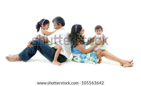 indian asian family having fun - stock photo