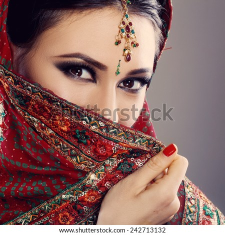 Indian beauty face close up beautiful eyes with perfect make up wedding
