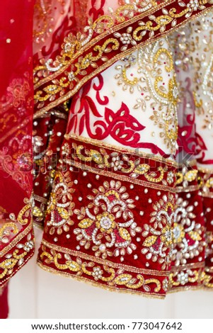 Indian Brides Red White Gold Wedding Stock Photo (Royalty Free ...