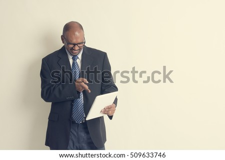 indian business man in tablet, shock
