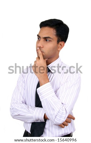 Indian business man in thinking pose isolated on a white background. - stock photo