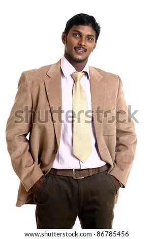 Indian business man isolated on white background.