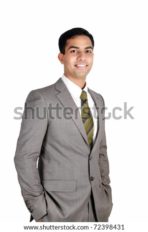 Indian business man smiling isolated on a white background. - stock photo