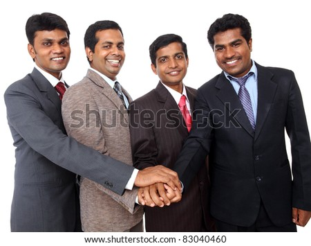 Indian business people showing them team cooperation. - stock photo