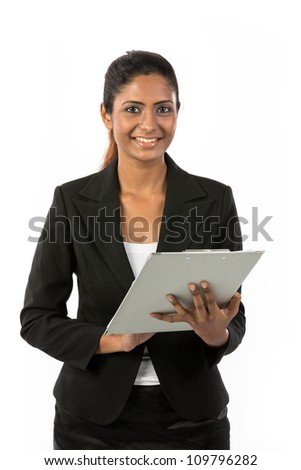 Indian Business Woman Holding A Clip Board. Isolated on white background. - stock photo