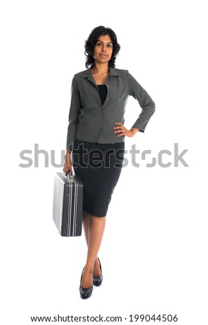 indian business woman on suitcase full body isolated on white - stock photo
