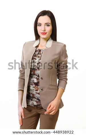 indian business woman with straight hair style in casual jacket and khaki blouse close up portrait isolated on white - stock photo