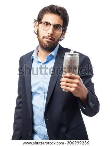 indian businessman with a beer