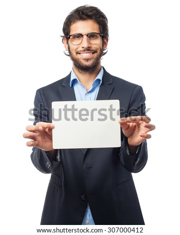 indian businessman with a placard