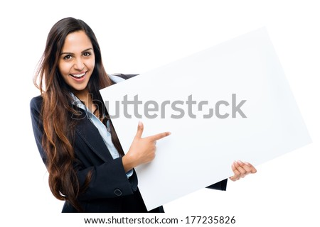 Indian businesswoman holding white placard copy space white background