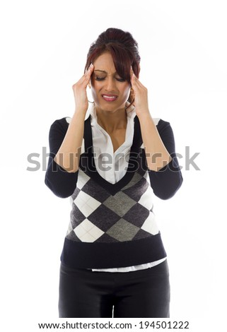 Indian businesswoman suffering from headache - stock photo
