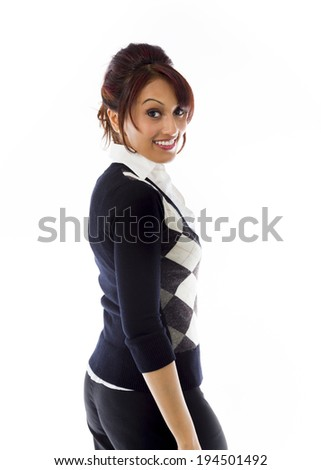 Indian businesswoman turning back isolated on white background - stock photo