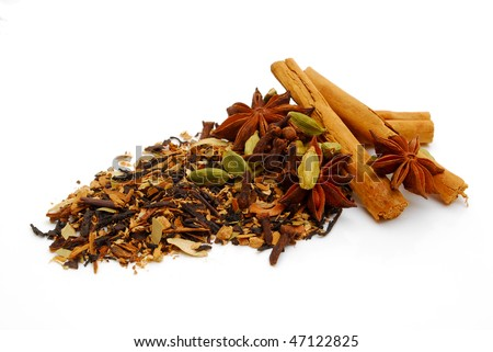 indian chai tea on white background - stock photo