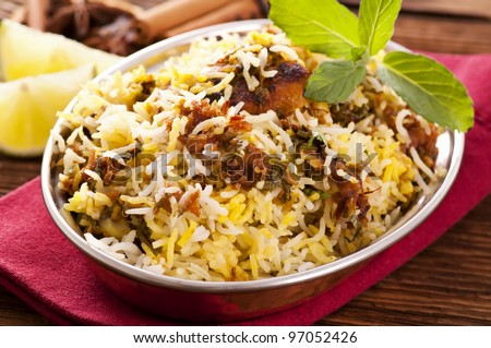 indian chicken biryani - stock photo