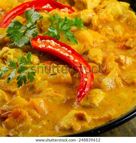 Indian Chicken curry . Selective focus - stock photo