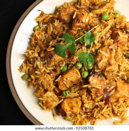 Indian chicken tikka biriyani curry - stock photo