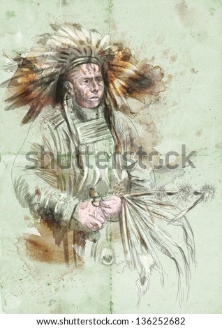Indian chief holding a peace pipe. /// A hand drawn illustration. - stock photo