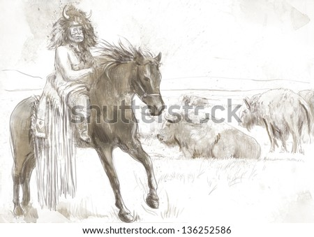Indian Chief riding a horse, watching buffalo herd. /// A hand drawn illustration. - stock photo