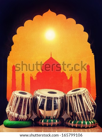 Indian classical music instrument tabla drums at Taj Mahal background in India - stock photo