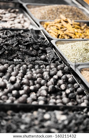 Indian colored spices at local market in, India - stock photo
