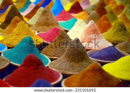 indian colorful spices in boxes - stock photo
